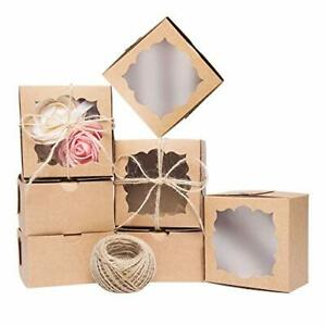 Yunko 50 Pack Brown Bakery Boxes With Window 4x4x2 5 Inches Cookie Boxes With