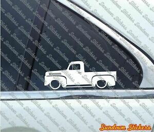 2x Lowered Truck Outline Stickers For Ford F 1 Vintage Pickup 1948 1952
