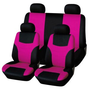 8pcs Pink Black Car Seat Covers Fit For Auto Suv Van Interior Accessories