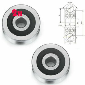 2x V Groove Guide Wheel Sheild Ball Bearing Pulley 8mm 30mm 14mm