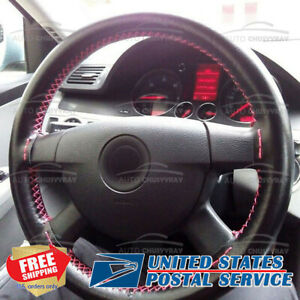 Auto Diy Black Genuine Leather Steering Wheel Cover Wrap Sew on Kit 38cm Fit Car