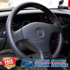 Universal Truck Steering Wheel Cover Genuine Leather Stitch On Wrap 14 15 Inch