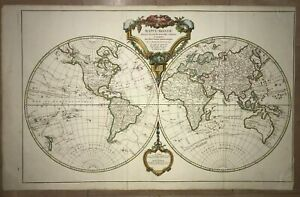 World Map 1790 Robert De Vaugondy Very Large Antique Engraved Map 18th Century