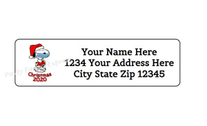 80 Christmas Snoopy 2020 Personalized Return Address Labels 1 2 In X 1 3 4 In