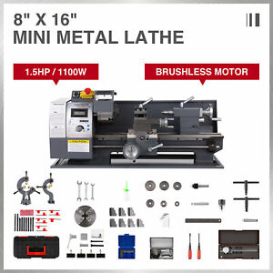 Mini Metal Lathe 8 16 1 5hp Digital Metal Gear Brushless Motor Full Sets