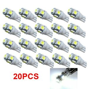 20pcs T10 5 smd 5050 Super White Led Light Bulbs 192 168 194 W5w 2825 158 12v Us