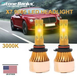 4 Side 9005 Hb3 H10 Led Headlight Bulb Hight Fog Light Beam 110w 3000k Yellow