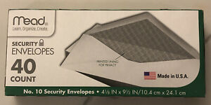 Mead White Security Business Legal Envelopes No 10 40 Count Size 4 1 8 X 9 1 2
