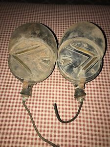 Pair Of Vintage Arrow Turn Signal Hooded Light Guide Lamp Direct Signals Ratrod
