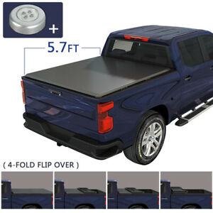 5 7 Ft Bed Soft 4 folding Tonneau Cover For 2009 2019 Dodge Ram 1500 2500 3500