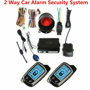 2 Way Car Alarm Security System Siren Anti Theft 2lcd Long Distance Controlers