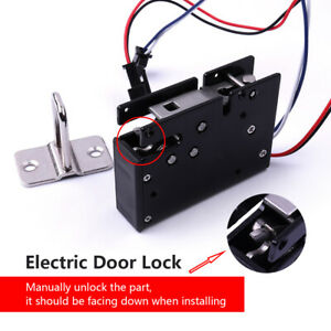 Electric Magnetic Lock Door Access Control Dc 12v Metal Black Home Security