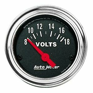 Auto Meter 2592 Traditional Chrome Electric Voltmeter Gauge 2 1 16 8 18 Volts