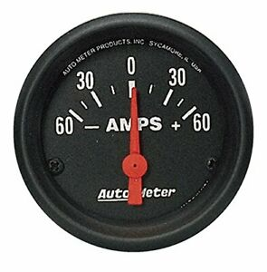 Auto Meter 2644 2 1 16 Z Series Electric Ammeter Gauge 60 0 60 Amps New