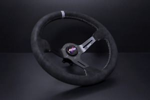 Dnd Alcantara Race Steering Wheel 350mm 75mm Deep Black With Gray Stitching New