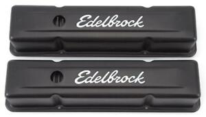 Edelbrock 4643 Valve Cover Kit Sbc Signature Series Black
