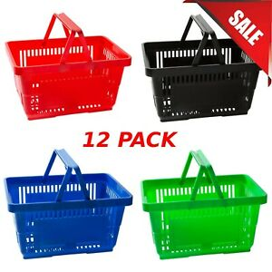 12 pack Colors Plastic Shopping Baskets Durable Grocery Convenience Store New