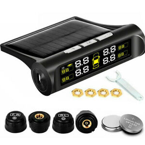 Car Tire Pressure Monitoring System Wireless Solar Tpms With 4 External Sensors