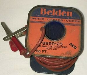 Vintage Belden Wire Spool 8899 25 18 Awg Test Wire With Clamps