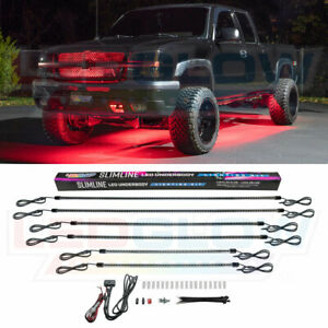 Ledglow 6pc Red Slimline Smd Led Truck Underbody Neon Light Kit W Solid Color