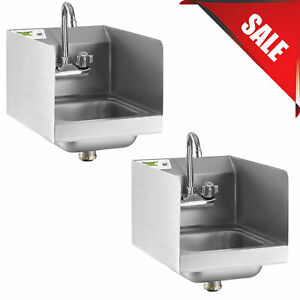 2 Pack 12 X 16 Wall Mount Hand Wash Sink W Faucet Commercial Stainless Steel