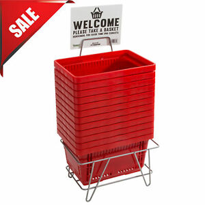 12 Pack W Stand Red Plastic Grocery Convenience Store Shopping Basket Tote Cart