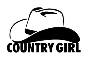 Country Girl White Vinyl Decal Sticker
