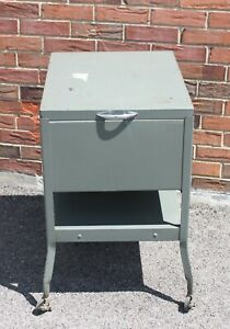 Pennant Steel Parts Industrial Vintage Rolling Metal File Cabinet