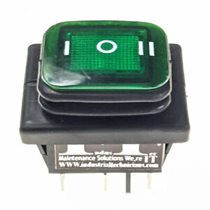 Industec Dpdt 20a 6 Pin On Off On Maintained Rocker Waterproof Illuminated Green