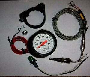 Autometer 5744 Phantom 2 1 16 Egt Pyrometer Gauge With Probe 0 1600f Used
