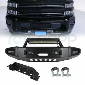 Heavy Duty Front Bumper W Led Lights Winch Plate For 15 17 Chevy Silverado 2500