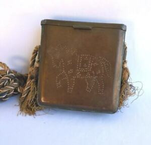 Antique Brass Tobacco Box Purse Hammered Horse Square Hinged Lid 4 25 Handmade