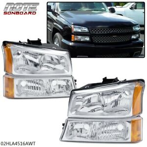 For 03 06 Silverado Avalanche Chrome Housing Amber Corner Headlight Bumper Lamps
