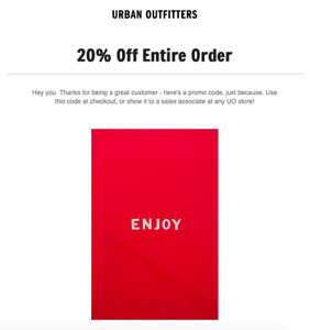20 Off Your Purchase At Urban Outfitters Coupon Sent Fast Exp 11 30 20