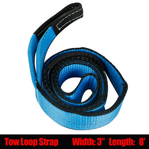 3 Inch X 8 Ft Tow Strap Winch Tree Saver Off Road Tow Rope Chain Blue
