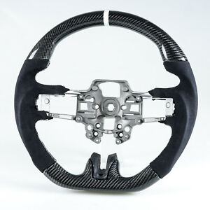 Carbon Fiber Suede Steering Wheel White For Ford Mustang 19 20 Facelift