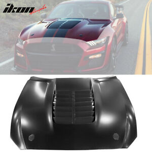 Fits 15 17 Ford Mustang 2dr Gt500 Style Aluminum Front Hood Black