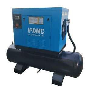 Rotary Screw Air Compressor 230v 3 Phase 10 Hp With 80 Gal Tank