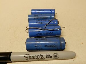 Sprague 39d Electrolytic Capacitors 40uf 350v Qty 5 Nos And Used
