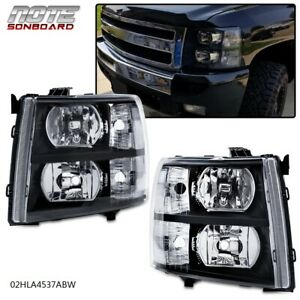 For 2007 2014 Chevy Silverado 1500 Headlight lamp Replacement Smoked Housing