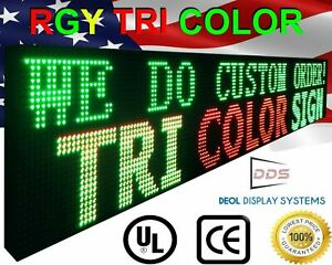 Digital Programmable Led Signs 12 X 38 Tri Color Open Easy To Use Display