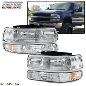 For 99 02 Chevy Silverado Chrome Housing Amber Corner Headlight Bumper Head Lamp