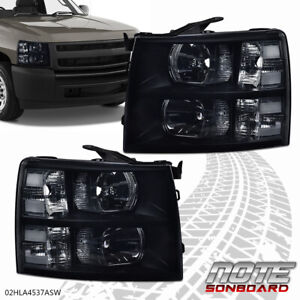 For 2007 2014 Chevy Silverado Direct Replacement Driving Head Lights Lamps Black