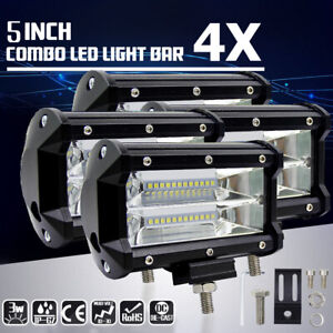 4x 5 inch 672w Led Work Light Bar Flood Combo Pods Driving Off road Tractor 4wd