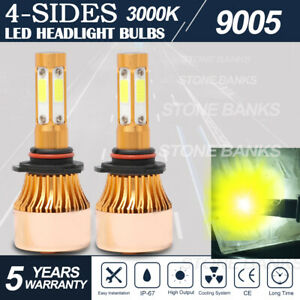 4 Sides 9005 Hb3 Led Headlight Bulbs High Beam 3000k Warm Yellow Conversion Kit