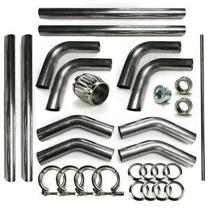 2 5 304 Stainless Mandrel Bend Universal Rod Builder Exhaust Kit V Band 45 180