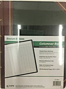 Boorum Pease Columnar Book six Column black Cover 150 Pages 10 3 8 X 8 1 8