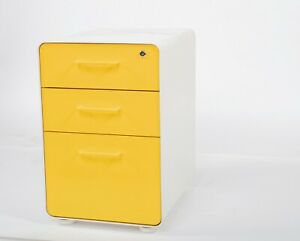Poppin 3 drawer Mobile File Cabinet Legal letter Size Yellow