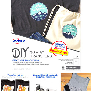 Avery 3279 Printable Heat Fabric Transfer Paper For Diy Projects On Dark Fabr