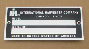 Id Serial Number Plate For Ih International 3588 3688 3788 4186 4386 4586 4786